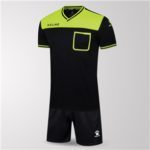 Kelme Arbitro Short Sleeve Referee Set – Black/Neon-Green