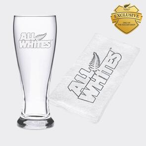 All Whites Beer Glass and Towel Set
