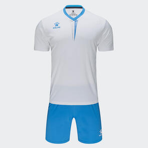 Kelme Junior Volta Jersey & Short Set – White/Neon-Blue