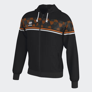 Erreà Dragos Full-Zip Hoodie – Black/Orange-Fluo/White