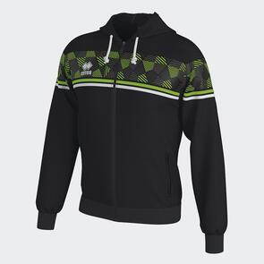 Erreà Dragos Full-Zip Hoodie – Black/Green-Fluo/White
