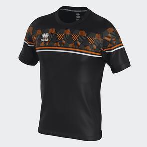 Erreà Diamantis Shirt – Black/Orange-Fluo/White