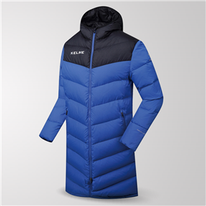 Kelme Duck Down Long Jacket – Blue/Black