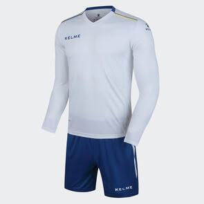 Kelme Moda Long Sleeve Jersey & Short Set – White/Blue
