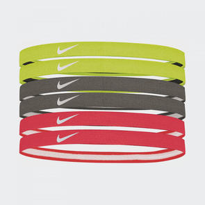 Nike Swoosh Sport Headbands (pack of 6) – Volt/Grey/Hot-Punch