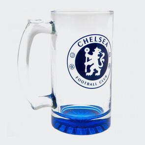 Chelsea Club Crest Stein Glass Tankard