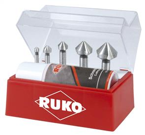 RUKO 102142 Countersink Set 6.3mm-25.0mm HSS 90Deg 3-Flute