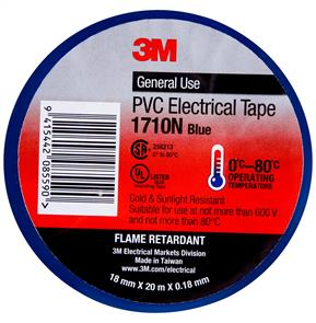 3M 1710 PVC Electrical Tape 18.0mm Blue
