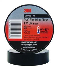 3M 1710 PVC Electrical Tape 18.0mm Black