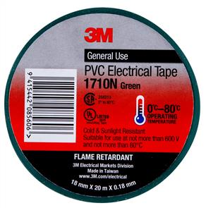 3M 1710 PVC Electrical Tape 18.0mm Green
