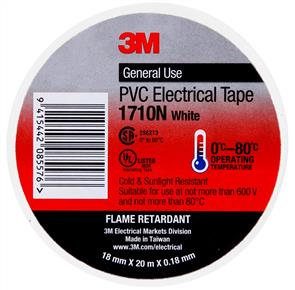 3M PVC ELECTRICAL TAPE 1710 18.0mm WHITE
