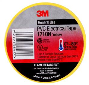 3M 1710 PVC Electrical Tape 18.0mm Yellow