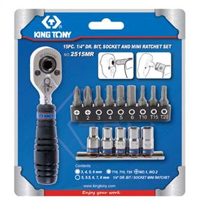 KING TONY KT2515MR Bit/Ratchet Set 1/4Dr 15pc