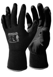 ARMOUR NIBLOB Black Flat Nitrile Open Back Gloves Medium