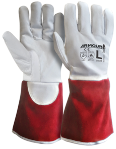 ARMOUR TIG Welding Kevlar Lined Glove XLarge (Red Cuff)