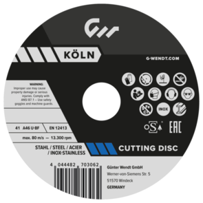G.WENDT Inox Cut Off Disc 178x1.5mm A46U-BF
