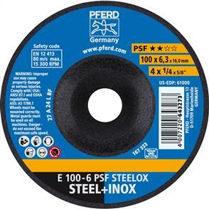 PFERD Inox D/C Grinding Disc E 100x6.0mm A24 LPSF