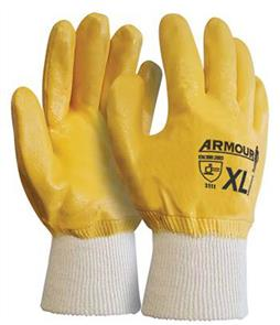 ARMOUR Gloves, Wrist Orange Nitrile Knit L