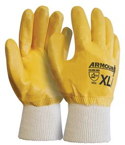 ARMOUR NITRILE GLOVES YELLOW CLOSED BACK