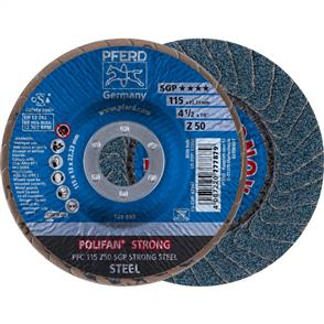 PFERD Polifan Flap Disc PFC 115mm Z 50 SGP Strong Steel