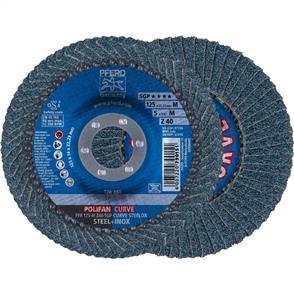 PFERD Polifan Flap Disc PFR 125mm Z 40 SGP CURVE M
