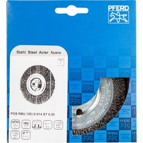 PFERD Wheel Brush, Crimped POS RBU 12512/M14 STEEL 0,30