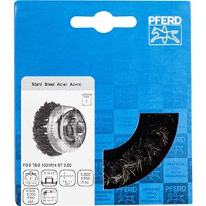 PFERD Threaded Cup Brush, Knotted POS TBG 100/M14 Steel 0,50