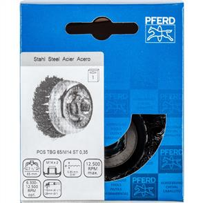 PFERD Threaded Cup Brush, Knotted POS TBG 65/M14 Steel 0,35